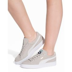 Puma Suede Classic + (395 ILS) ❤ liked on Polyvore featuring shoes, beige, everyday shoes, womens-fashion, laced shoes, round cap, suede lace up shoes, beige shoes and puma footwear