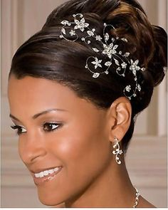 Pictures of Beautiful African American Wedding Updo Hairstyles. Get hairstyles ideas and inspiration with Beautiful African American Wedding Updo Hairstyles. Black Wedding Hairstyles, Bride Hairstyles, Black Women Hairstyles, African Wedding Hairstyles, Hairstyle Ideas, Hairstyles Pictures, Roll Hairstyle, Dress Hairstyles, Modern Hairstyles