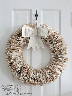 Antique Book Page Wreath by KnickofTime.net
