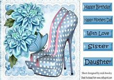 Blue polka dot shoes with blue chrysanthermums on lace 8x8 on Craftsuprint - Add To Basket!