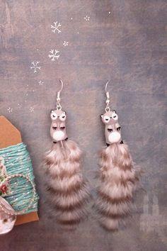 Boucles d'oreilles Totems Renardeaux Gris de oMamaWolf sur DaWanda.com