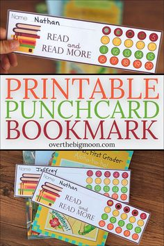 A Printable Punchcard Bookmark that is the perfect way to help encourage, motivate and keep track of your kids reading! This is great to use during the summer or during the school year! From overthebigmoon.com! Motivation For Kids, Reading Motivation, Reading Goals, Reading Help, Kids Reading, Reading Bookmarks, Bookmarks Kids, Free Printable Bookmarks, Freebies Printable