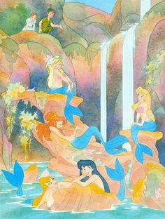 Peter Pan shows Wendy the Mermaid Lagoon in Neverland. The Mermaid Lagoon Disney Nerd, Disney Fan Art, Disney Love, Disney Magic, Disney Wiki, Disney And Dreamworks, Disney Pixar, Peter Pan Mermaids, Mermaids And Mermen