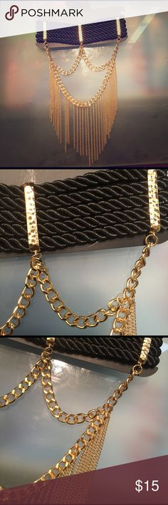 ⚫️ Choker Necklace  BEAUTIFUL Black & gold fringe choker necklace  Brand new, never worn. Adjustable clip in back for perfect fit. Very extravagant, & will spice up any little black dress  #BrandedForExposure Fashion Nova Jewelry Necklaces