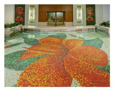 The Tile Installation Design Commercial Award was given for creative artistic design for a vivid hibiscus flower composed of mosaic glass tile on the floor of a captivating water feature. Glass Mosaic Tiles, Mosaic Art, Interior Design Awards, Pottery Painting, Painted Pottery, Blown Glass Art, Water Art, Tile Installation, Unique Lighting