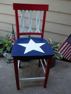 Red  white and blue bar stoolpatriotic red  white and blue chair   my furniture   Pinterest  . Red White And Blue Painted Furniture. Home Design Ideas