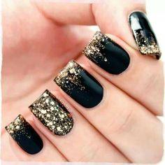 Black & gold glitter manicure...super cute!