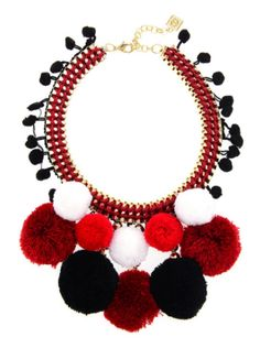 9d9377791 Pump up the volume with this multi colored pom pom bib necklace of  different color combinations