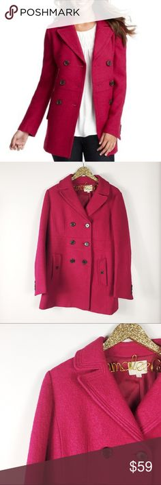 """LOFT Boiled Wool Blend Peacoat LOFT Boiled Wool Peacoat in a berry pink color. Size 8. Brown Button detail. 29.5"""" length, 20"""" arm to arm across chest. Viscose/wool blend. In great pre-owned condition. No modeling/trades. LOFT Jackets & Coats Pea Coats"""