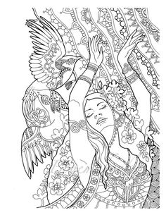 Cute Girs Adult Coloring pages Digital coloring pages Adult Coloring Pages, Fairy Coloring Pages, Coloring Pages To Print, Printable Coloring Pages, Coloring Sheets, Coloring Books, Kids Coloring, Mandala Coloring, Etsy