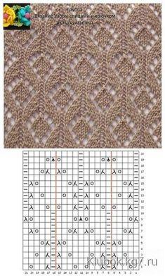 Узор В схеме указаны лицевые и изнаночны… Patrón El patrón muestra las filas delantera y trasera. Lace Knitting Stitches, Lace Knitting Patterns, Knitting Charts, Lace Patterns, Easy Knitting, Loom Knitting, Knitting Designs, Stitch Patterns, Knitting Videos