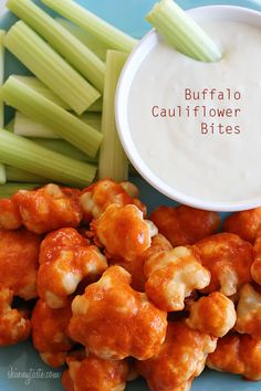 Spicy Buffalo Cauliflower Bites | Skinnytaste -Could use almond or coconut flour? Need to check the ingredients in Franks Red Hot