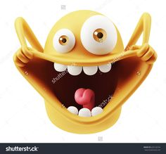 Happy Funny Emoticon Character Face Expression. 3d Rendering. Stock Photo 425124724 : Shutterstock