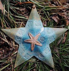 House Star Wall Hanging Starfish Ocean Beach Shell by Bigdogpots, $46.50