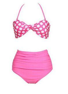 High Waisted Sexy Halterneck Ruffled Polka Dot Print Bikini Swimsuit For Women Color: BLACK, PINK Size: S, M, L, XL Category: Women > Swimwear   Gender: For Women  Material: Polyester  Pattern Type: Polka Dot  Swimwear Type: Bikini  Waist: High Waisted  #highwaistedswimsuitshops #highwaistedswimsuit #polkadotswimsuit #womensuit #bridgat.com