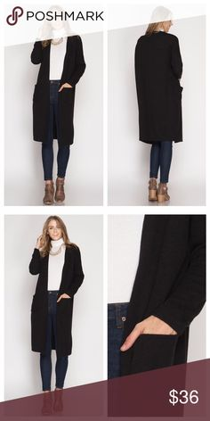 "Black Long Sleeve Cardigan With Pockets Long sleeve cardigan is comfy and warm, has side pockets, and a lightly ribbed texture  Measurements laying flat: armpit to armpit - S 24.75"", M 25.5"", L 26.25"", shoulder to hem - S 39.5"", M 40"", L 40.5"", neck to sleeve hem - S 27.5"", M 28"", L 28.5"". EVIEcarche Sweaters Cardigans"