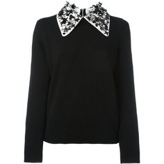 Paul Smith Jeans sequin star collar jumper ($303) ❤ liked on Polyvore featuring tops, sweaters, black, jumper top, jumpers sweaters, merino sweater, sequin top and sequin sweater
