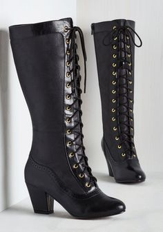 When it comes to mastering past styles with present-day panache, these black boots from Bait Footwear earn you a vintage-inspired victory! My New boots should be here soon! So excited! High Heel Boots, Heeled Boots, High Heels, Heeled Sandals, Ankle Boots, Cute Shoes, Me Too Shoes, Mode Steampunk, Steampunk Cosplay