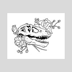 This is a gallery-quality giclèe art print on cotton rag archival paper, printed with archival inks. Deer Skull Tattoos, Skull Tattoo Flowers, Flower Tattoos, T Rex Tattoo, Doodle Tattoo, Tattoo Drawings, Skeleton Flower, Skeleton Art, Dinosaur Tattoos