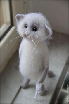 Купить Котик Angelo - Валяный кот, валяный котенок, валяная игрушка, кот из шерсти