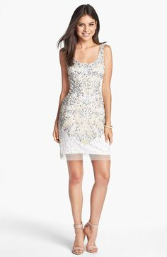 Adrianna Papell Embellished Mesh Tank Dress | Nordstrom