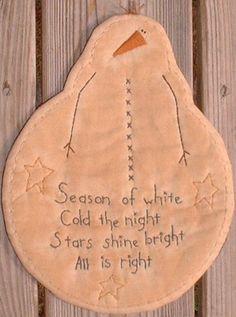 Primitive Stitchery Candle Mat Snowman Season of White