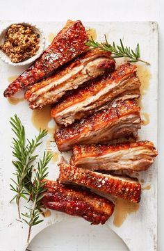 recette cuisine 🌿 pork belly with mustard and maple (recipe rezept) Good Food, Yummy Food, Skirt Steak, Pork Dishes, Main Meals, Main Meal Recipes, Recipes Dinner, Appetizer Recipes, Pork Recipes