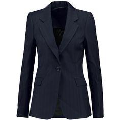 Maison Margiela Pinstriped wool blazer featuring polyvore, women's fashion, clothing, outerwear, jackets, blazers, midnight blue, wool blazer, maison margiela, blue wool blazer, tailored blazer and wool jacket