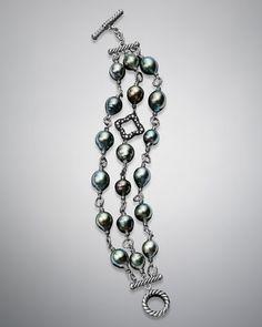 Three-Row Bracelet with Pearls and Diamonds by David Yurman at Neiman Marcus.