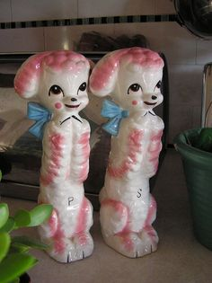 pink poodles salt and pepper shakers