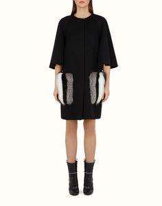 FENDI | CAPPOTTO IN LANA in lana nera e pelliccia