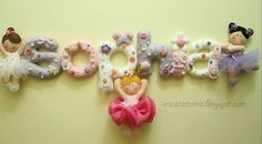 Felt name with dancers so cute! by Ei Menina