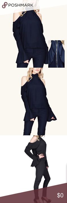Katie Cold Shoulder Top. NWT This best selling cold shoulder blouse with a ruffle sleeve detail in midnight black is just in time for the fall season! Pair with skinny jeans and booties for a sexy chic look! Will fit 11 to 13 Tops Blouses
