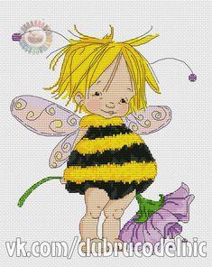- Little bee fairy Cross Stitch Fairy, Cross Stitch For Kids, Cross Stitch Books, Cute Cross Stitch, Cross Stitch Alphabet, Cross Stitching, Cross Stitch Embroidery, Cross Stitch Patterns, Stitches Wow