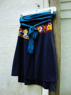 Womens Wrap Skirt/ Upcycled T Shirt Wrap/ by RebirthRecycling, $45.00