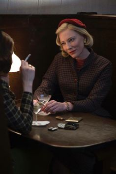 Cate #Blanchett Hat Jacket #Carol Costume - scene from the film where Carol shares secret desires with Abby