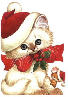 CHRISTMAS KITTEN AND MOUSE