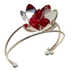 Sterling Silver Flower Bracelet. Handmade rhodium plated sterling silver bracelet with jade stones.