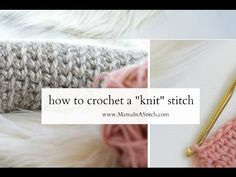 Learn how to crochet the knit stitch successfully in this step-by-step video tutorial. The knit stitch (AKA the waistcoat or center single crochet stitch) ca. Easy Crochet Stitches, Single Crochet Stitch, Tunisian Crochet, Learn To Crochet, Knitting Stitches, Love Crochet, Knitting Patterns, Knit Crochet, Crochet Patterns