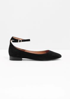 & Other Stories image 1 of Ankle Strap Suede Ballerinas in Black