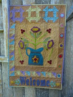 Bloomin' Time Wool Applique Quilt Pattern – Snuggles Quilts Wool Applique Quilts, Applique Quilt Patterns, Applique Templates, Owl Templates, Felt Patterns, Applique Wall Hanging, Hanging Quilts, Quilted Wall Hangings, Small Quilt Projects