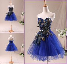 c0a6e0126cd24 Royal Blue Mini Peacock pattern Cocktail /Bridesmaid/Party/ Homecoming  Dresses