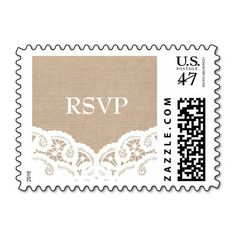 Burlap Lace Doily Wedding RSVP Postage Stamps
