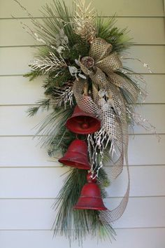 Rustic Farmhouse Metal Bell Swag - Rustic Farmhouse Metal Bell Swag Bring a tou. - Rustic Farmhouse Metal Bell Swag – Rustic Farmhouse Metal Bell Swag Bring a touch of festive sty - Christmas Swags, Christmas Door Decorations, Christmas Centerpieces, Christmas Holidays, Christmas Bells, Holiday Wreaths, Christmas Wreaths To Make, Christmas Planters, Burlap Christmas
