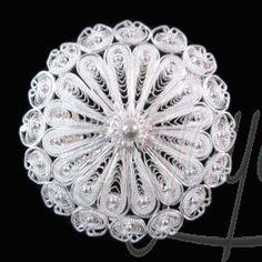 Silver Filigree Jewelry Round Brooch
