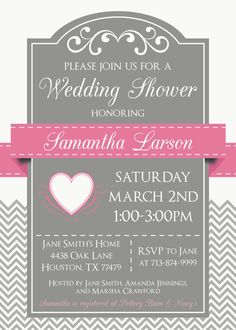 custom swirls & chevron bridal shower invitation