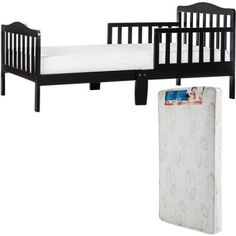 Dream On Me Classic Design Toddler Bed with Mattress, Black