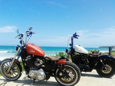 What A Way To Go,Around The Ocean For Sweet Dip And Then Get  Dry On Your XL Sportster !