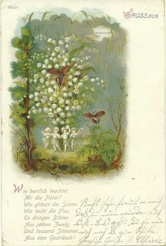 Gruss. German postcard of fairies and lilies of the valley.