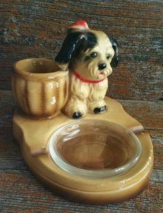 Vintage Ceramic Ashtray, Ceramic Pipe Rest, Vintage Ceramic Puppy Ashtray, Dog Collectible, Vintage Home Decor, Vintage Puppy Trinket Tray by EmptyNestVintage on Etsy